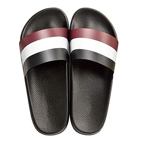 Mayi unisex slip-on pantofole da bagno sandali da doccia antiscivolo morbidi pantofole da casa con suola superiore e spessa suola in eva, nero/bianca/rosso,39/40 eu