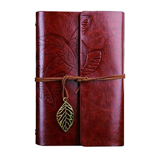 NectaRoy Retro Vintage Blatt Label Notizbuch Klassische PU Leder Cover Notebook Notepad Travel Journal Tagebuch Reisetagebuch Nachfüllbare Sketchbook Spirale Ringbuch (A6, Dunkelbraun)