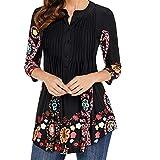 Tshirt Damen Tops Frühling 3/4 Ärmel Button Rundhals Gedruckt Classic Plissee Gemustert Slim Fit T Shirt Casual Hochwertig Shirt Kleidung