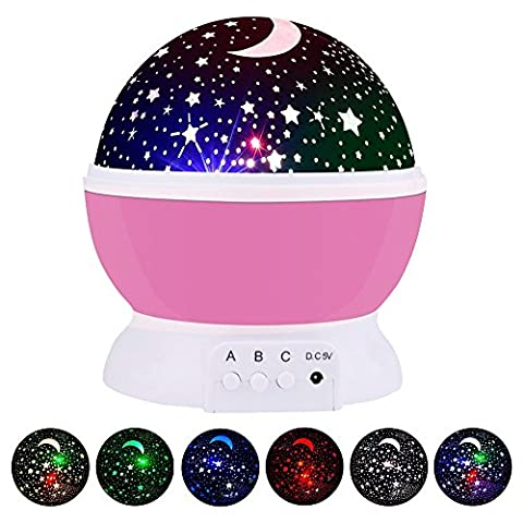 Star Projection GRDE Galaxy Constellation Night Light with 4 Bright Colours 360 Degree Moon Star Projection Rotation for Kids Baby Bedroom Nursery Great Gift Idea for