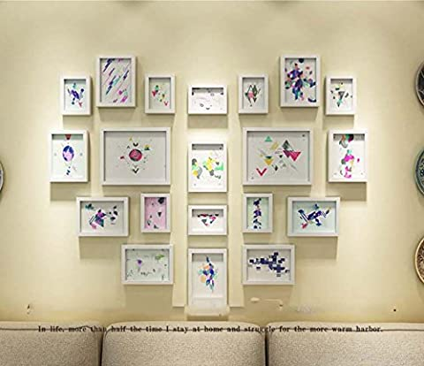 RESIN Photo Frame wall Set - 20 cadres - VERRE Fronts - Avec supports d'images - Largeur de cadre 2cm - blanc , white