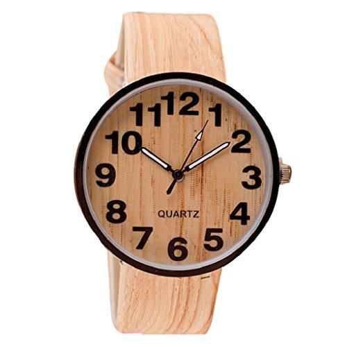 GillBerry 1 PC Unisexo Hombres De las mujeres Elegante Grano de madera Cuarzo Relojes de pulsera