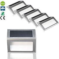 PMzeroLife 6 x Impermeable IP65 LED Solar Luces al Aire Libre Solar de Acero Inoxidable Para la Planta del Paisaje Jardín de la Pared de Accesorios Modernos, Escaleras, Caminos, Cubierta, Patio, Jardín