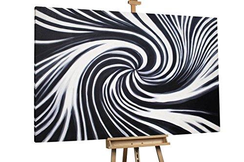 'Aufgewirbelt' 180x120cm | Abstrakt Schwarz Weiß Strudel XXL | Modernes Kunst Ölbild