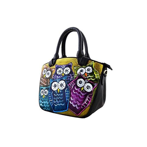 Hand-painted genuine leather shoulder bag – OWL - Women Bag, Hand Bag, Genuine Leather, Made in Italy, Painted Leather, Handbag and Shoulder Bag, Craftsmanship - handmade-bags