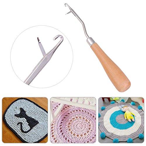 Demiawaking 2pcs uncinetti per tappeti con manico in legno ferri da maglia fai da te a maglia strumento per la riparazione dei tappeti