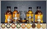 Set 4 schottische Jura Single Malt Whisky Miniaturen mit 9 DreiMeister Edel Schokoladen & Spey Dram Glas, kostenloser Versand