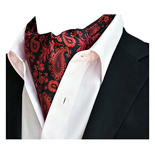 85f85c83409b5 YCHENG Homme Paisley Cravate Ascot Scarf Luxe Bandana Motif Echarpe en Soie  Jacquard, Rouge 1