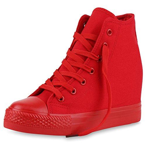 SCARPE VITA Damen Sneakers Keilabsatz Sneaker-Wedges Trendfarben Stoffschuhe 165503 Rot 38 Canvas Wedge Sneakers