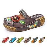 gracosy Merceditas de cuña Chanclas Zapatos de Mujer de Cuero de Verano Plataforma de Confort Zapatos Sandalias de Mujer Floral Mujeres niñas Sandalias Planas Azul Rojo Verde Gris