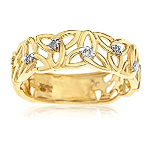 Kareco 9ct Yellow Gold Ladies' 5 Point Diamond Set Linked Celtic Trinity Knot Ring Size M