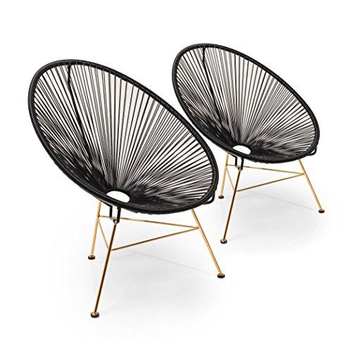 Kare Stuhl Spaghetti 2er Set, 42880, moderner Lounge Sessel im Retro-Design für den Innen- und Outdoorbereich, schwarz-rosegold (H/B/T) 88x73x79,5cm