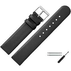 Uhrenarmband 20 mm Leder schwarz glatt - inkl. Federstege & Werkzeug - Ersatzband für Uhren aus echtem Rindsleder - Uhrband geradem Bandverlauf - Marburger Uhrenarmbänder seit 1945 - schwarz / silber