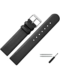 Smooth Leather Watch Strap 20 mm Black with Spring Bars & Tools – Replacement Band for Watch Cow Leather Watch Strap Straight Band – MARBURGER Since 1945 Watch Straps – Black/Silver