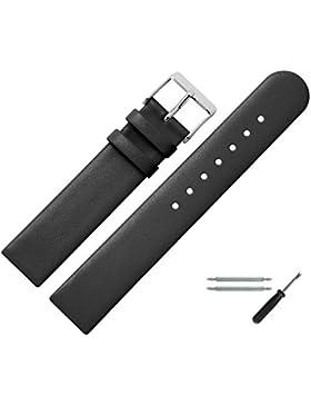 Uhrenarmband 14mm Leder schwarz glatt - inkl. Federstege & Werkzeug - Ersatzband für Uhren - Uhrband mit Schlaufe...
