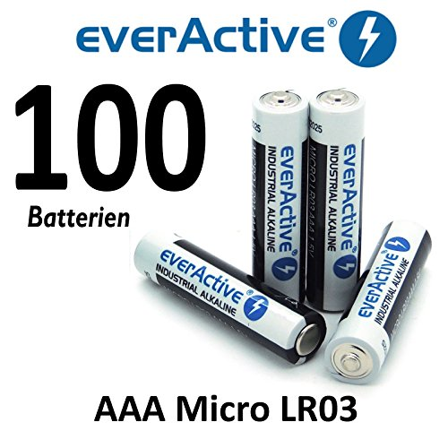 lot de 100 piles alcalines EverActive micro AAA MN2400 MX2400 LR03, 1200 mAh