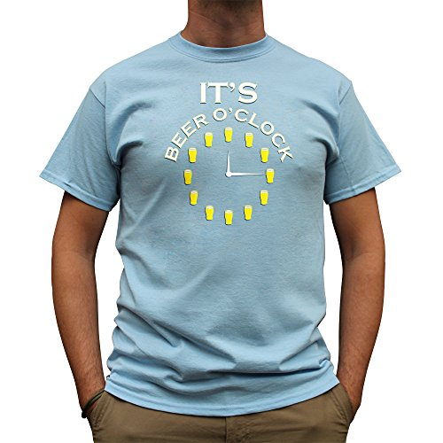 Nutees It's Beer O'clock Pub Drinking Stag Do Funny Herren T Shirt - Licht Blau X-Large