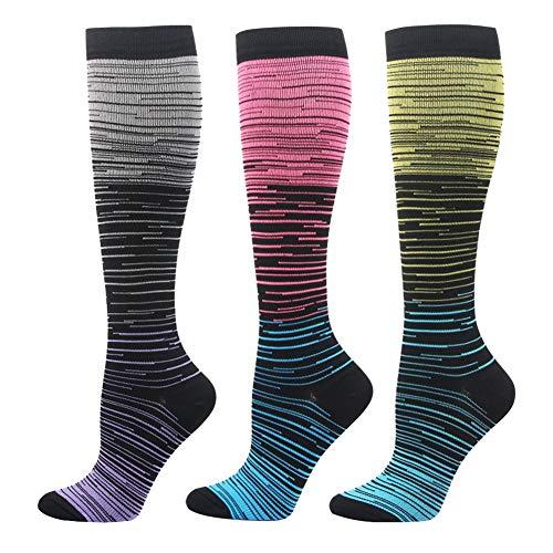 3 Paar Kompressionsstrümpfe für Damen Herren - Kompressionssocken Thrombosestrümpfe Compression Socks Stützstrümpfe für Sport, Medizinisch, Reisen, Flug, Lauf, Joggen, Radsport, Schwangerschaft