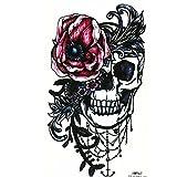 JUSTFOX - Temporäres Tattoo Totenkopf Rosen Design Klebetattoo