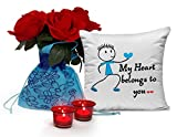 TiedRibbons Valentine's day Gifts, Valentine's Day Gifts for Girlfriend, Valentine's Day Gifts for Wife Combo Pack(Flower Sack with Red Roses,Cushion  best price on Amazon @ Rs. 699