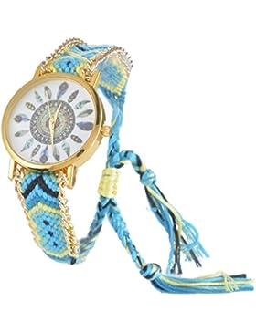Souarts Damen Geflochten Armbunduhr Jugendliche Mädchen Armreif Uhr mit Batterie Zifferblatt Azurblau