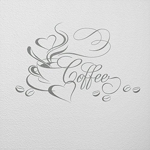 WANDfee Wandtattoo Kaffee Kaffeetasse Herz und Bohnen AA4510020 Größe 52 x 34 cm Farbe grau