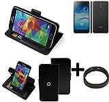 K-S-Trade® Hülle Schutzhülle Case Für -Jiayu S3 Advanced- + Bumper Handyhülle Flipcase Smartphone Cover Handy Schutz Tasche Walletcase Schwarz (1x)