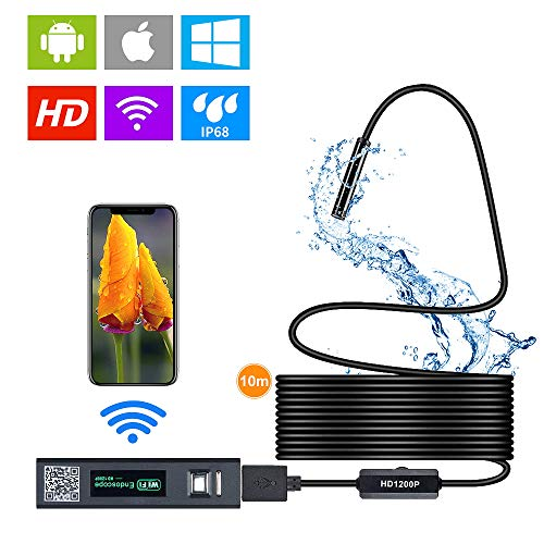 styleagal Endoskopkamera WiFi endoskop IP 68, wasserdicht Endoskop-Inspektionskamera für Android und iOS Smartphone, iPhone, Samsung, iPad, Tablet (33FT)