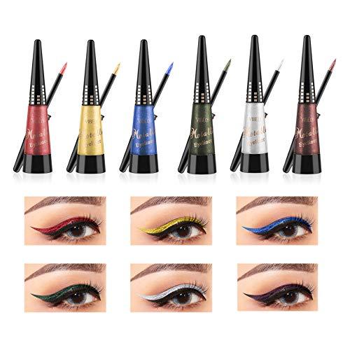 Rechoo Glitter Liquid Eyeliner Set 10PCS langlebig wasserdicht Sekt Eyeliner Lidschatten Pen - 10er...