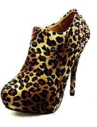 Spike tachonado talón de tacón alto botas de tobillo zapatos de las señoras suedette