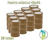 Palucart® 36 pezzi rotoli nastro adesivo 50x66 srotolamento silenzioso per imballaggio colore AVANA