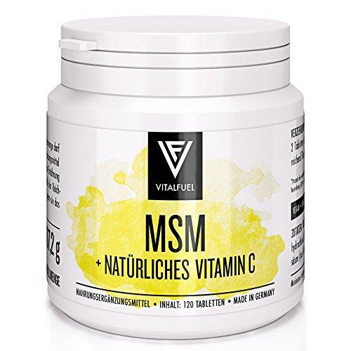 Vitalfuel® - MSM Kapseln hochdosiert - 120 Stück - organischer Schwefel, mit 1500 mg Tagesdosis - MSM Pulver mit natürlichem Vitamin C (Wie Zeichnet Ein Stück)