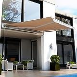Outsunny Elektrische Garten-Markise, Roll-Überdachung für Terrasse/Garage, mit Fernbedienung, 3,5 x 2,5 m