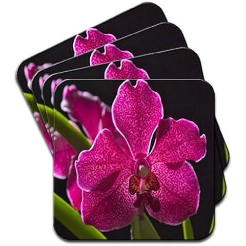 Hawaii magenta orchidea & foglie verdi set di 4 sottobicchieri in legno di alta qualità