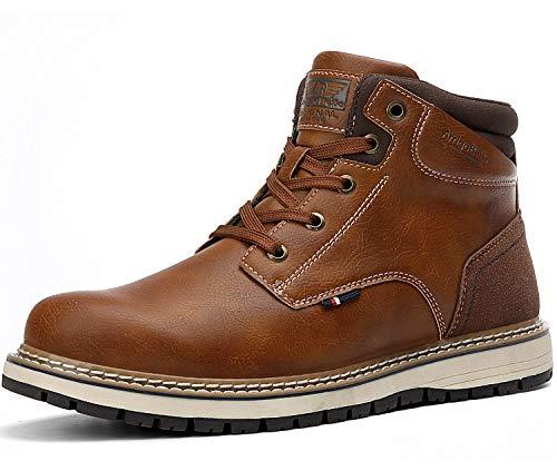 AX BOXING Hombre Botines Zapatos Botas Nieve Invierno Botas Impermeables Fur Forro Aire Libre Boots (41 EU, A056(sin Piel)-Marrón)