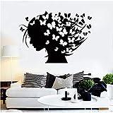 Finloveg Acconciature Astratte Farfalle Adesivi Murali Vinile Decalcomanie Donna Parrucchiere Design Sfondi Decor Camera Da Letto Murales 59X42Cm