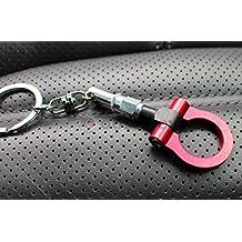 Llavero con forma de argolla para remolcado, color rojo anodizado,  colgante, deporte de competición, de VmG-Store