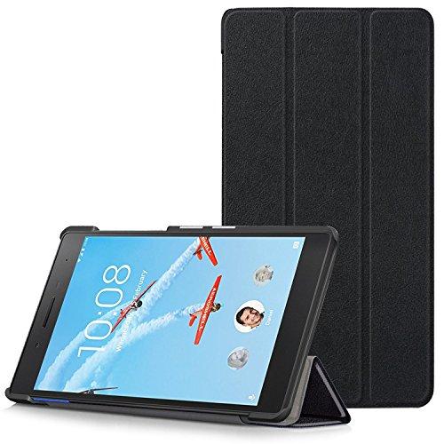 Lenovo Tab 7 Essential Hülle - Ultra Dünn und Leicht PU Leder Schutzhülle mit Standfunktion für Lenovo Tab 7 Essential 17,78 cm (7 Zoll) Tablet-PC, Schwarz (Nicht für Lenovo Tab3 7 Essential)