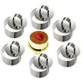 ONEDONE mousse anelli in acciaio INOX cake Circle cake Mold with Pusher, 8 cm di diametro, set di 6 Round