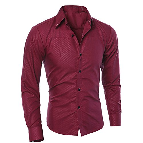 UJUNAOR Camicia a Maniche Lunghe Scozzese da Uomo,Slim Fit,Stile Aziendale,S/M/L/XL/2XL/3XL(XX-Large,Vino Rosso)