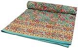 Guru-Shop Blockdruck Tagesdecke, Bett & Sofaüberwurf, Handgearbeiteter Wandbehang, Wandtuch - Grün/blau Blumen Ornament, Baumwolle, Größe: Single 150x200 cm, Tagesdecken mit Blockdruck