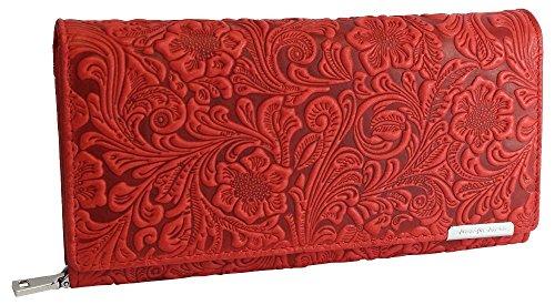 Designer Damen Echtleder Geldbörse Exclusives Portemonnaie aus geprägtem Leder Geldbeutel für Frauen Portmonee in 4 Farben (5554) (Rot) -