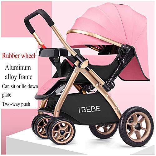 Cochecito de bebé Carros de bebé ligeros para recién nacidos Sentados y tumbados 2 en 1 Cochecitos plegables para niños Carrito portátil para viaje, 65 x 48 x 99 cm (color : Pink1)
