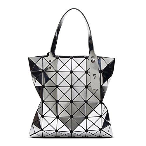 STRAWBERRYER Borse Da Donna Estive Stitching Geometriche Borsa A Tracolla Pieghevole Silver1