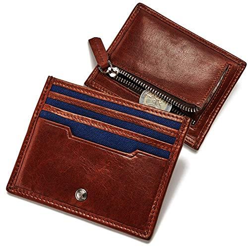 ECHTHIRSCH Geldbeutel Geld-Börse Portemonee mit Kleingeldfach Münz-Fach Karten-Etui Kreditkarten RFID-Schutz Slim Canvas Leder-Hülle - Influencer-Cognac Blue