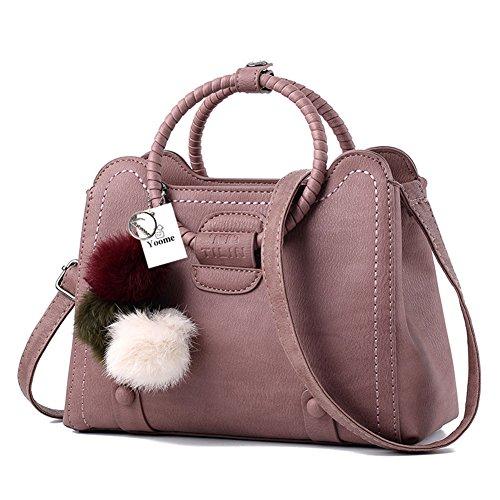 Borsa a tracolla Yoome Borsa a tracolla a tracolla Borsa a mano per le donne Borsa a tracolla vintage - Rosso Rosa