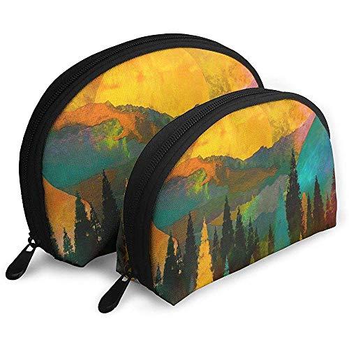 Tree Mountain Sun Sunrise Bolsas portátiles Bolsa de Maquillaje Bolsa de Aseo, Bolsas de Viaje portátiles multifunción Pequeña Bolsa de Embrague de Maquillaje con Cremallera