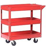 Jalano Werkstattwagen Metall Rollwagen rot 3 Böden Werkzeug Wagen mit Rollen