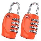 E-db Kombinations-Zahlenschloss, Vectri Schloss 4-Stellige Reiseschloss TSA Vorhängeschloss (Orange -2Pack)