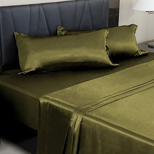 Forever Bedding Bettlaken-Set aus Satin mit tiefer Tasche, Fadenzahl 600, 4-teilig California King grün -